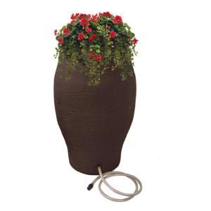 50 gallon flat back brown Urn rain barrel