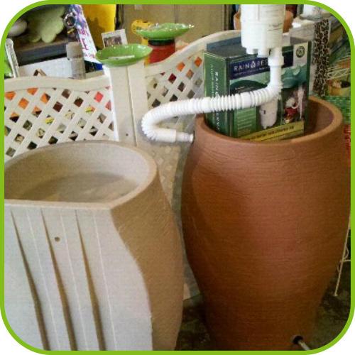 50 gallon Flat back Terra Cotta and Stone Urn Rain Barrels